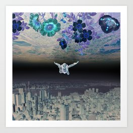 A Skydiver Between Two Parallel Universes Art Print