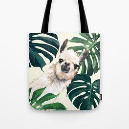 Sneaky Llama with Monstera Tote Bag