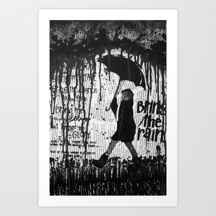 Sunday's Society6   Black and white rain art print