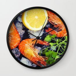 Tiger Shrimps on Ice with lemon and herbs Wall Clock