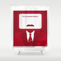 will ferrell Shower Curtains featuring No278 My Anchorman Ron Burgundy minimal movie poster by Chungkong