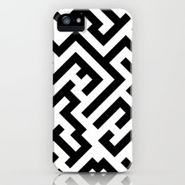 Black and White Diagonal Labyrinth iPhone Case
