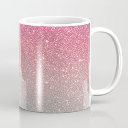 Modern neon pink teal faux glitter ombre patern Coffee Mug