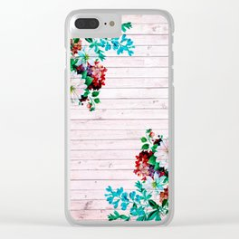 Vintage pink wood and flowers Clear iPhone Case
