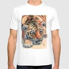 Resting Tiger Cub 896 White MEDIUM Mens Fitted Tee
