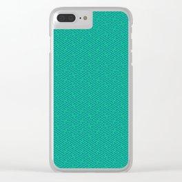 Aqua Sayagata Pattern - Auspicious Sacred Geometry Clear iPhone Case
