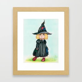 Gothic  Girl with red boots  - Illustrations - Cartoons Framed Art Print