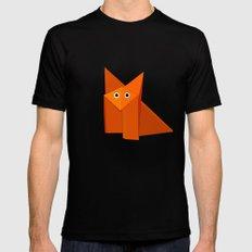 Cute Origami Fox Black MEDIUM Mens Fitted Tee