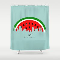 watermelon Shower Curtains featuring watermelon by mark ashkenazi