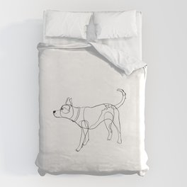 Minimalist line art drawing of Year of the Dog Duvet Cover