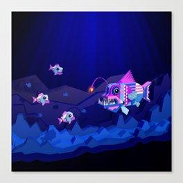 Anglerfish, lie and bioluminescence Canvas Print