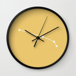 Aries Zodiac Constellation - Golden Yellow Wall Clock