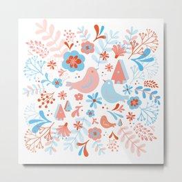 pastel birds spring floral Metal Print