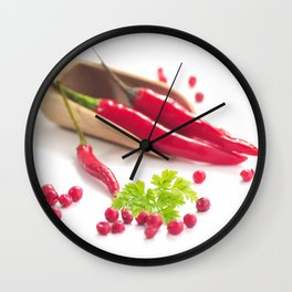 Hot chili and hot pepper Wall Clock