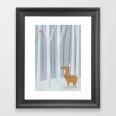 Origami deer in the Woods Framed Art Print