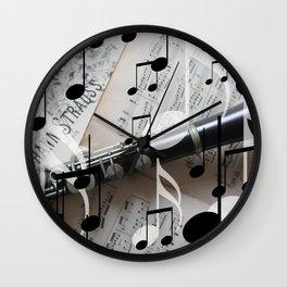 music notes white black clarinet Wall Clock