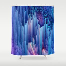Beglitched Waterfall - Abstract Pixel Art Shower Curtain