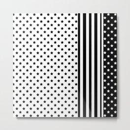 Black and white star pattern . Metal Print
