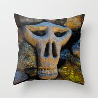 minerals Throw Pillows featuring skull and minerals by giol's