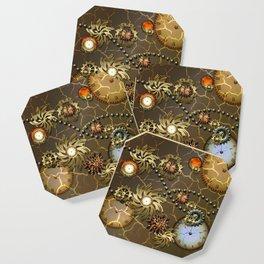 Steampunk golden design Coaster