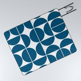 Mid Century Modern Geometric 04 Blue Picnic Blanket