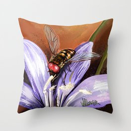 Fly on flower 10 Throw Pillow