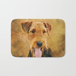 Airedale Terrier Portrait Bath Mat