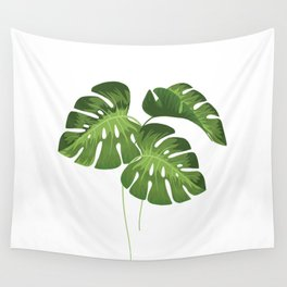 Three Monstera Leaves on White Wall Tapestry