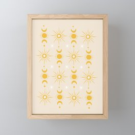 Yellow Sun & Moon Pattern Framed Mini Art Print