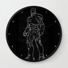 Iron man black background handmade drawing Wall Clock