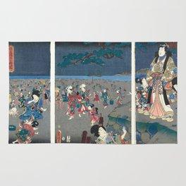Collecting shells on the beach of Akashi,  Utagawa Kunisada Rug
