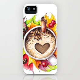 Fall and cup of coffee iPhone Case