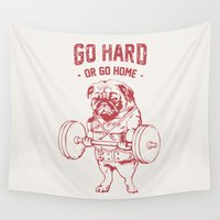 workout Wall Tapestries featuring GO HARD OR GO HOME by Huebucket