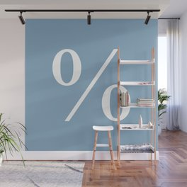 percent sign on placid blue color background Wall Mural