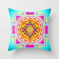 chakra Throw Pillows featuring Shri Chakra by Artisticcreationsusa