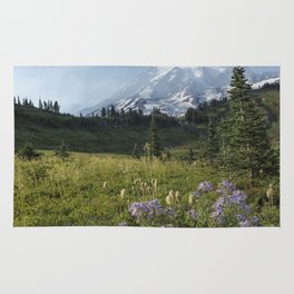 Wildflowers and Mount Rainier Rug