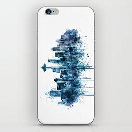 Seattle Skyline monochrome watercolor iPhone Skin