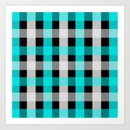blue black checks Art Print