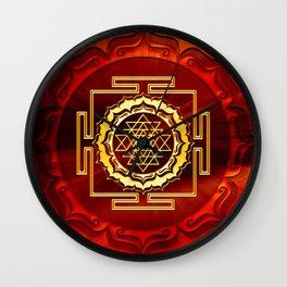 Shri Yantra, Cosmic Conductor of Energy, Lotus Flower, Buddhism Wall Clock