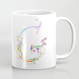 Letter G watercolor - Watercolor Monogram - Watercolor typography - Floral lettering Coffee Mug