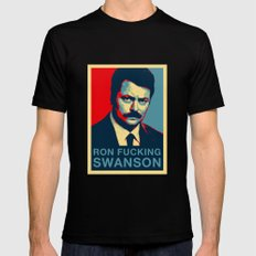 Ron F***ing Swanson Black MEDIUM Mens Fitted Tee