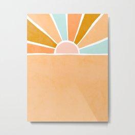 Peachy Sunset Rainbow Metal Print