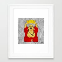 8bit Framed Art Prints featuring Buddha (8bit) by Grizzly Logo
