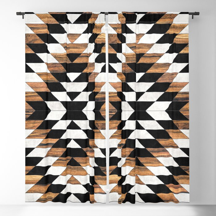 Urban Tribal Pattern No.13 - Aztec - Concrete and Wood Blackout Curtain