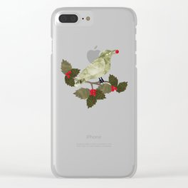 Birds and Holly in Greens, Golds and Red Clear iPhone Case