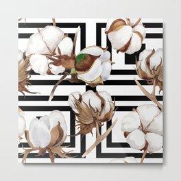 Cotton Flower Pattern 13 Metal Print