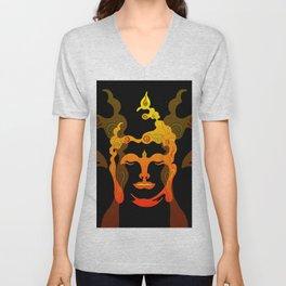 Illustration Buddha Head orange black design Unisex V-Neck