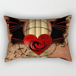 Heart with dragon and wings Rectangular Pillow