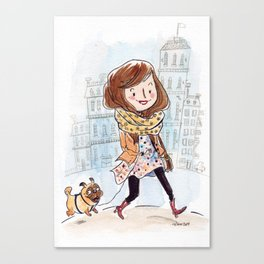 Walk in Quebec city with Marty Woof-Woof Canvas Print