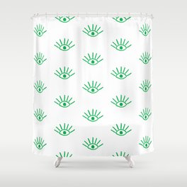 Green Evil Eye Pattern Shower Curtain
